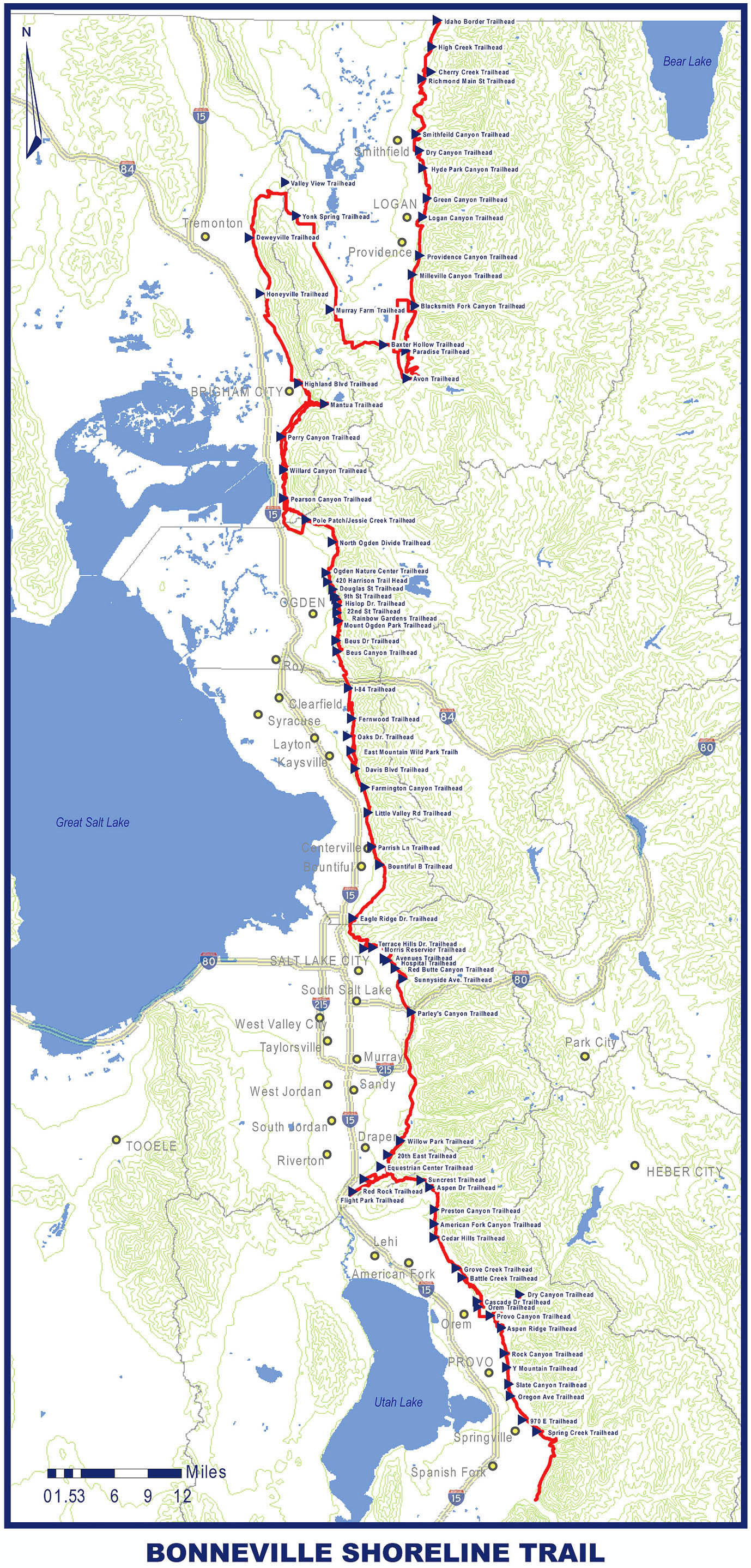 Bonneville Shoreline Trail: Full Map